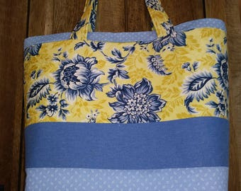 Denim & Flower Tote - Upcycled Materials