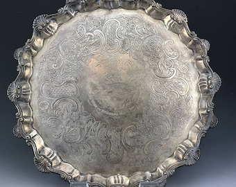 18th C. Rare GEORGIAN SOLID SILVER Salver Tray