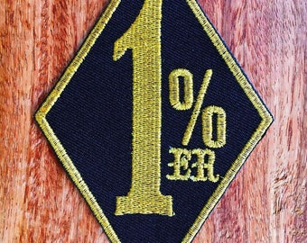 One Percenter 1%er biker outlaw motorcycle gang applique iron-on patch.