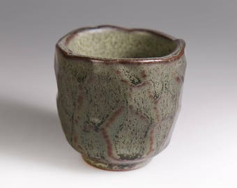 Glost-fired Earthen Teacup;Polygonal cutting;Handmade;Taiwan pottery;Japanese style;Ceramicware;Unique gifts;Multi-coloured cup;tea ceremony