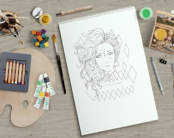 Instant Download Liliana Manga Anime Coloring Page Outline Adult
