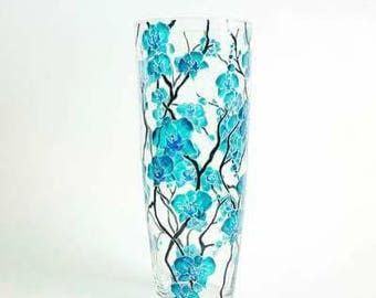 Hand painted glass vase unique gift