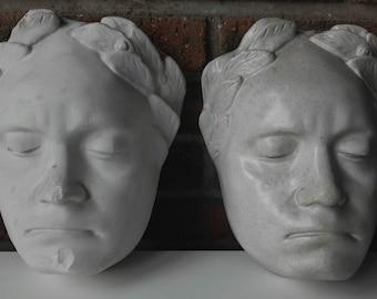 Pair of funerary masks Classic period. Plaster. Early twentieth century