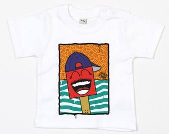 "Baby T-shirt white ""shoe with cap"" (organic cotton)"