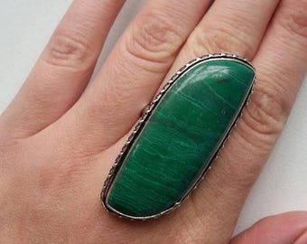 Malachite Ring ( universal size, high quality reconstituted stone )