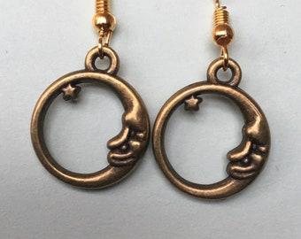 Circular Moon Face Earrings