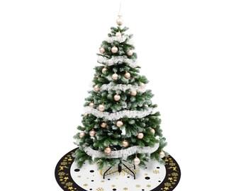 Golden X-MAS round floor mat carpet rug p.v.c vinyl christmas tree hiliday