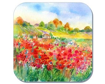 Poppy Field - Wildlife Coaster, Flower Coaster (Corked Back). From an original Sheila Gill Watercolour Painting