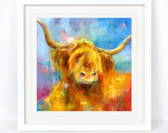 Angus - Highland Cow Print. Limited Edition Print from an Original Sheila Gill Watercolour. Fine Art, Giclee Print,Hand Painted,Home Decor