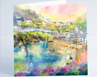 Port Isaac Cornwall - Greeting Card by Sheila Gill