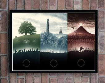 The Lord Of The Rings Trilogy Artwork Movie Poster The fellowship of the ring , The two towers , The return of the king Home decor picture