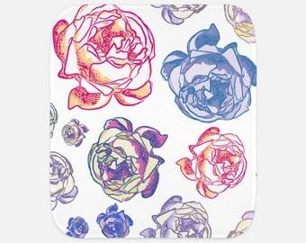 "Gorgeous Peony Floral Print - 12""x16"" Baby Burp Cloth - Baby Gift - Newborn Gift"