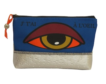 Printed message eye makeup pouch