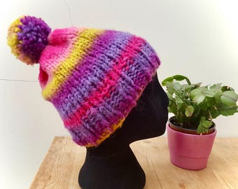 Hand Knitted Bobble Hat with Pom Pom Pinks/Purples/Yellow