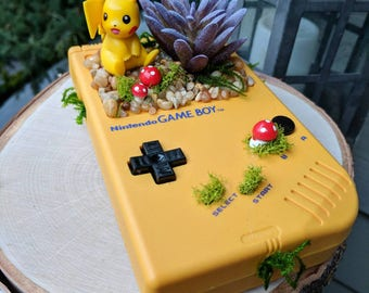 Nintendo Classic Yellow Gameboy with Pikachu Pokemon Succulent Planter
