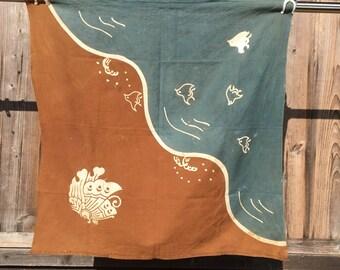 Antique kakishibu/aizome furoshiki