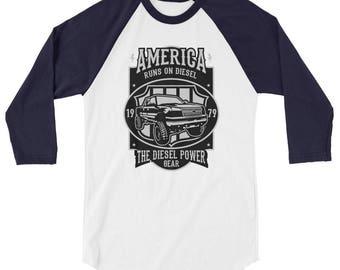 Diesel Power 3/4 sleeve raglan shirt