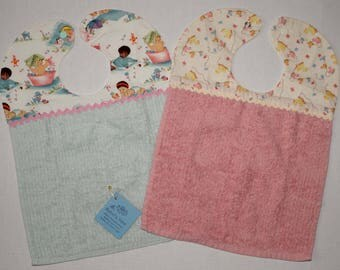 Set of 2 Baby Bibs - Cotton Terry - Bath time and Ducks