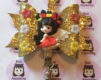 Gold glitter bow bag charm with clay figure, bag charm, glitter bow, for women and girls