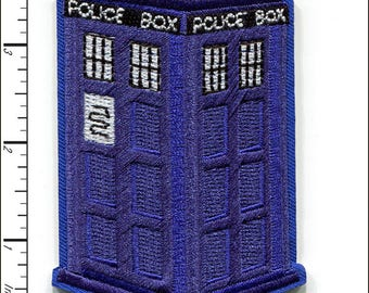 10 Pcs Embroidered Iron on patches Doctor Who Police Box AP025dA