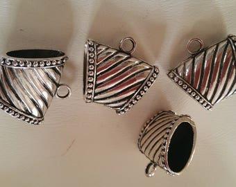 4 silver metal scarf bails