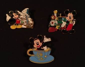 Mickey Mouse On Rides Pin Set