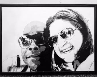 A4 framed commissioned hand painted portraits. Custom made black and white art markers on marker paper. CanvasByCalvin