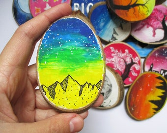 Galaxy Mountain Wood Magnet, Wooden Magnets, Fridge Magnet, Painted Magnet, Hand Painted Magnet, Hand Painted Wood Magnet, Wood Art, Gift