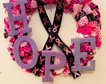 Cancer Awareness Purple Hope Rag Wreath