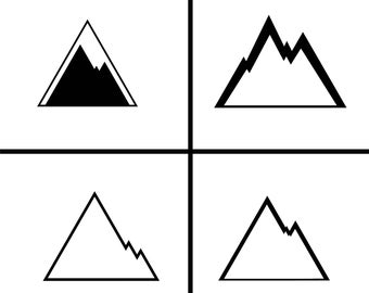 4 mountain illustrations for logos