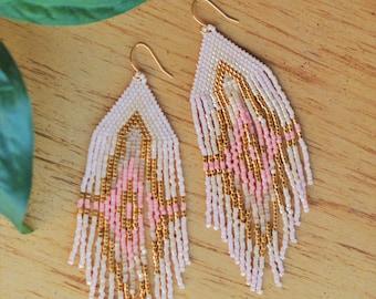 Pink + Gold Beaded Fringe Earrings