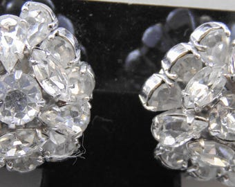 Vintage Signed Vogue Layered Clear Rhinestone Clip Earrings in Silvertone