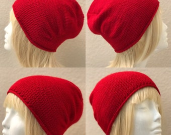 Bright Red Pure Wool Cap (small size)