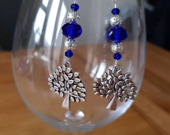 Blue and Silver glass bead tree charm earrings