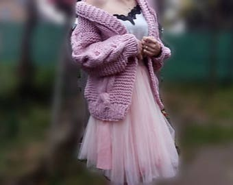 Ready to go! Cozy Cardigan,Oversized Cardigan, Chunky Knit Cardigan,dusty rose  Cardigan, Oversized Sweater, Cozy Sweater, Fluffy Cardigan,