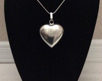 Heart sterling silver puffy heart