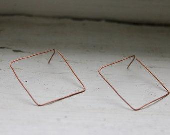 Earrings from copper wire-earrings oxidised copper wire