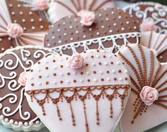 Wedding/Valentine Heart Cookies - Set of 12