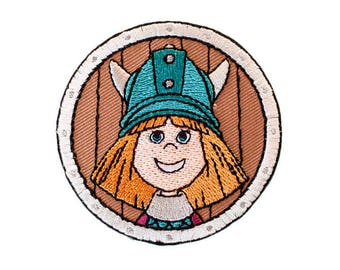 Wickie head Round-patch appliqué application patch ironing #9279 new
