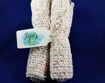 Crochet washcloths, cotton washcloths, tan and pastels washcloths, kitchen cloths, handmade