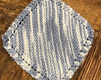 Blue and white hand knit washcloths