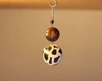 Bone | Ankole | Horn | Batik Earrings.