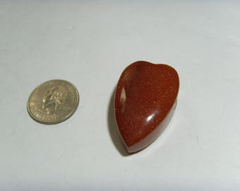 Large Hole 3D Sunstone Heart shape focal bead pendant Natural termination crystal reiki healer chakra lapidary