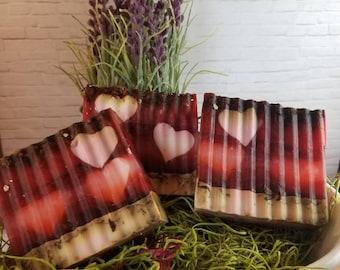 Gilded Goat Cinnamon Rose Heart Soap