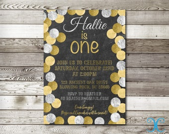 Gold Birthday Invitation, Birthday Invitation, First Birthday Invitation, Silver Invitation, Girl Birthday Invitation, Chalkboard Invite,009