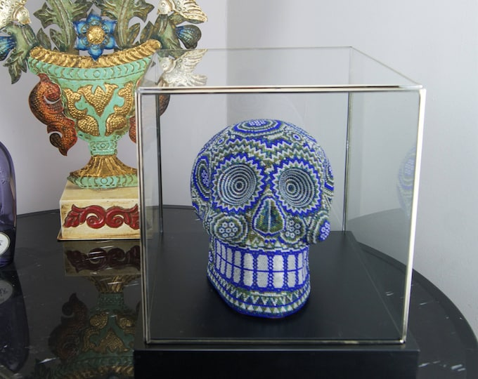 Featured listing image: Beaded Mexican Huichol Skull in Display Case Blue & Green Glass