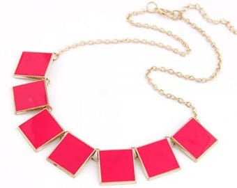 Pink Neon Squares Gold Tone Necklace