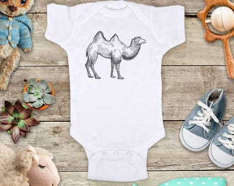 Camel Illustration graphic Zoo animal wild kingdom Shirt - Baby bodysuit Toddler youth Shirt cute birthday baby shower gift
