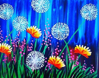 Acrylic wish flower painting