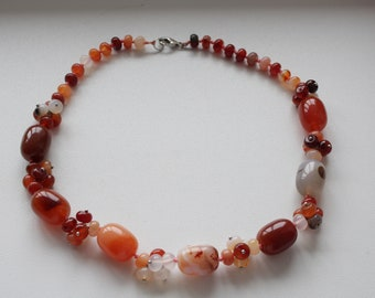Carnelian necklace with large beads